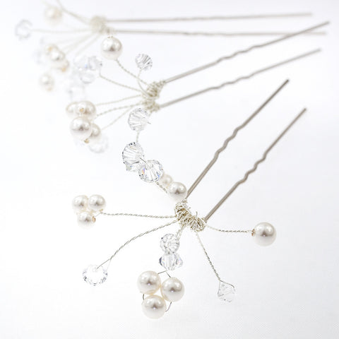 Bridal Hair Pin with Swarovski stones Crystal white stones & White Pearl