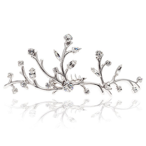 Bridal Hair Ornament with Swarovski 8182 Crystal white stones