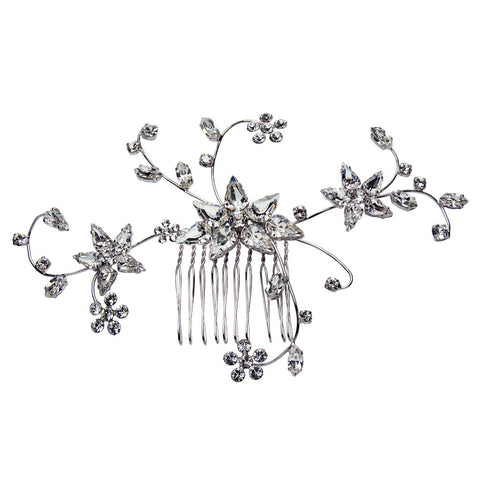 Bridal Hair Ornament with Swarovski 8237 Crystal white stones