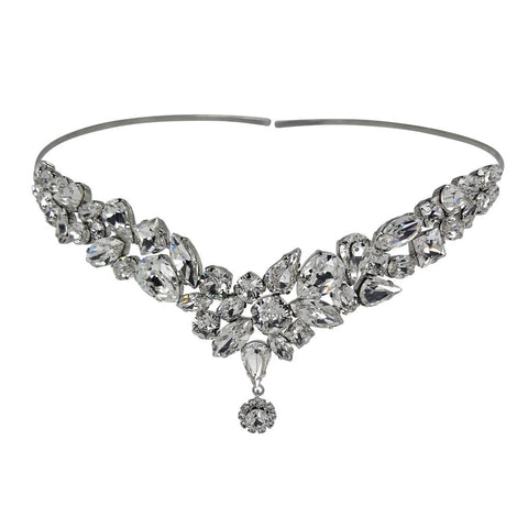 Bridal Hair Ornament with Swarovski 8270 Crystal white stones