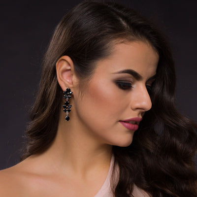 Marielle Long Black Earrings