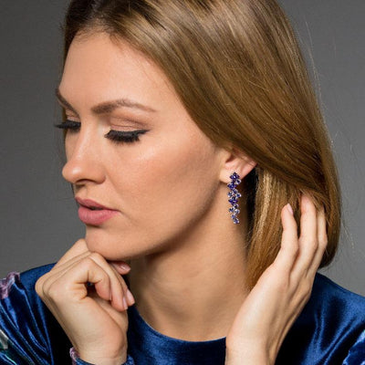 Long Fashion Earrings with Purple Swarovski Crystal