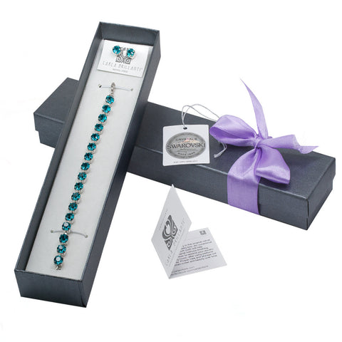 gift jewellery set with Swarovski stones Blue Zircon