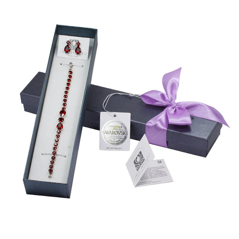 gift jewellery set with Swarovski stones Siam red stones