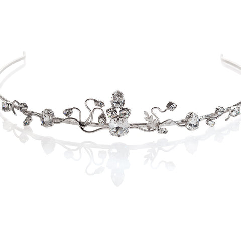Bridal tiara with Swarovski  code 8130 Crystal white stones