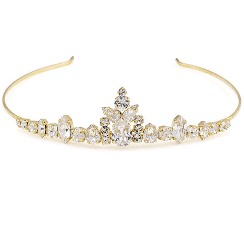 Bridal tiara with Swarovski  code 8148 Crystal white stones gold plating