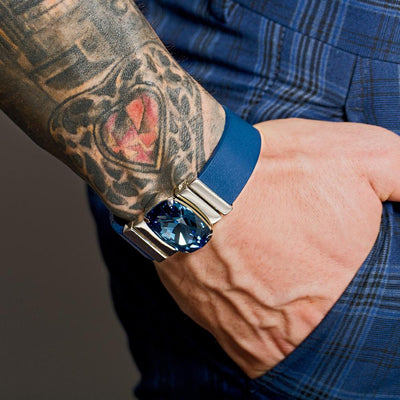 Midnight Blue Men's Bracelet & Blumarine Natural Leather Strap
