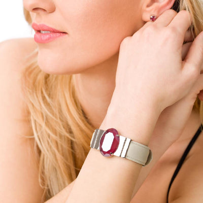 Amaranthine Dark Red Bracelet & Cream Lacquer Natural Leather Strap