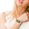 "Chrysolite Dream Bracelet & Light ""Green Apple"" Leather Strap"