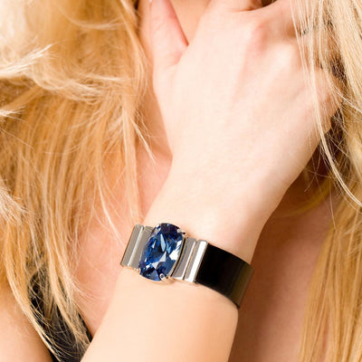 Midnight Blue Bracelet & Black Lacquer Natural Leather Strap