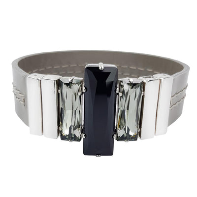 Night Image Bracelet & Grey Lacquered Leather Strap