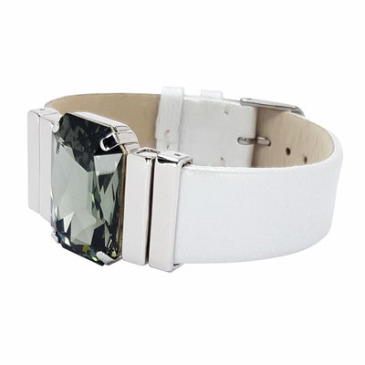 "Tranquility Bracelet & White ""Sedef"" Natural Leather Strap"