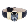 "Mysterious Black Men's Golden Bracelet & Black ""Calfskin"" Natural Leather Strap"
