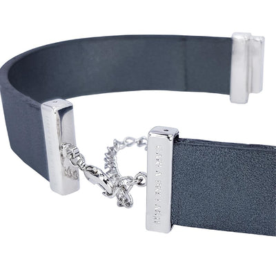 Metalized Grey Natural Leather Strap for C&B Choker