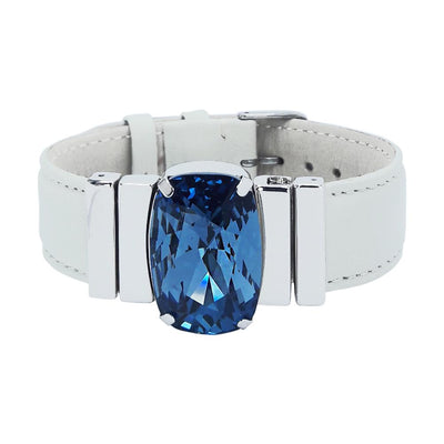 "Midnight Blue Bracelet & ""Elegant"" Cream Natural Leather Strap"