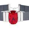 Crimson Red Choker & Metalized Grey Natural Leather Strap