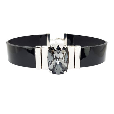 Mysterious Black Choker & Black Lacquer Leather Strap
