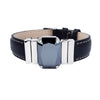 "Midnight Jet Men's Bracelet & Black ""Calfskin"" Natural Leather Strap"
