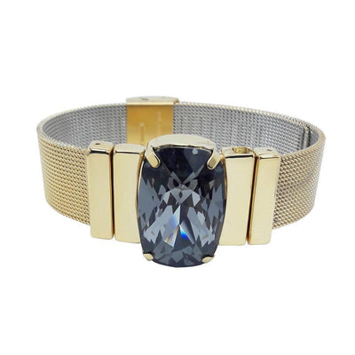"Mysterious Black Men's Bracelet & ""Milanese Mesh"" Golden Metal Strap"