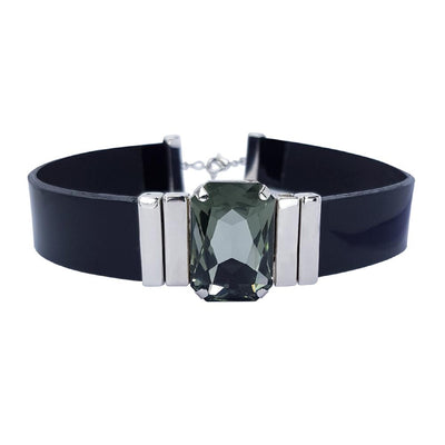 Tranquility Choker & Black Lacquer Leather Strap