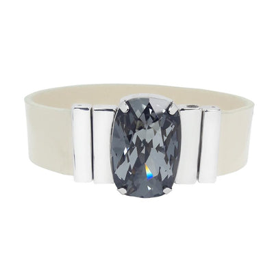 Mysterious Black Bracelet & Cream Lacquer Leather Strap