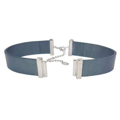 Metalized Blue Natural Leather Strap for C&B Choker