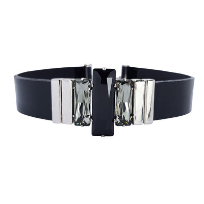Night Image Choker & Black Lacquer Leather Strap