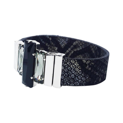 "Night Image Bracelet & ""Snake"" Natural Leather Strap"