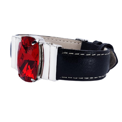 "Crimson Red Bracelet & Black ""Calfskin"" Natural Leather Strap"