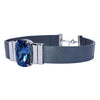 Midnight Blue Choker & Metalized Grey Leather Strap