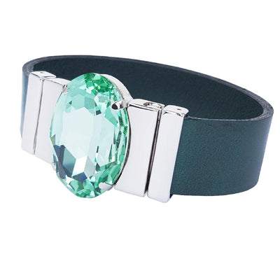 Chrysolite Dream Bracelet & Raw Green Natural Leather Strap