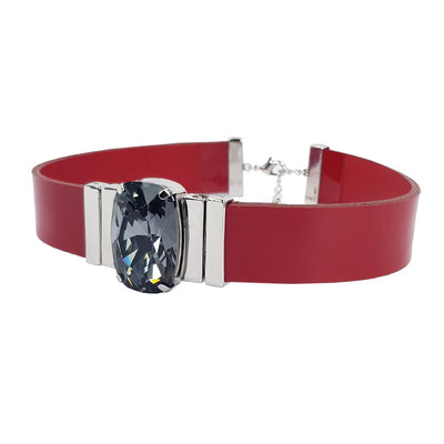 Mysterious Black Choker & Red Lacquer Leather Strap