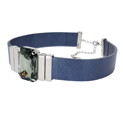Tranquility Choker & Metalized Blue Natural Leather Strap