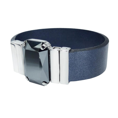 Midnight Jet Men's Bracelet & Metalized Blue Natural Leather Strap