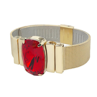 Crimson Red Bracelet & `Milanese Mesh`Golden Metal Strap