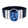 Midnight Blue Men Bracelet & Black Laquered Leather Strap
