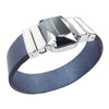 Midnight Jet Bracelet & Metalized Blue Natural Leather Strap