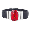 "Crimson Red Bracelet & Black ""Chess"" Natural Leather Strap"