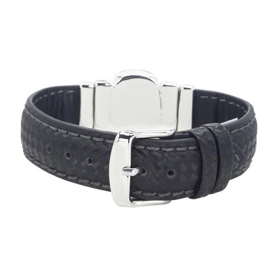 "Mysterious Black Men's Bracelet & ""Chess"" Black Natural Leather Strap"