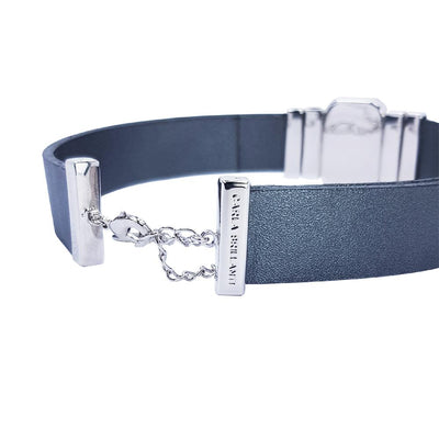 Tranquility Choker & Metalized Grey Leather Strap