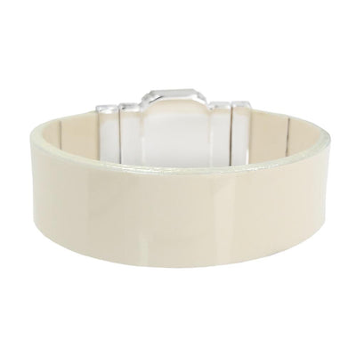 Midnight Jet Bracelet & Cream Lacquer Natural Leather Strap