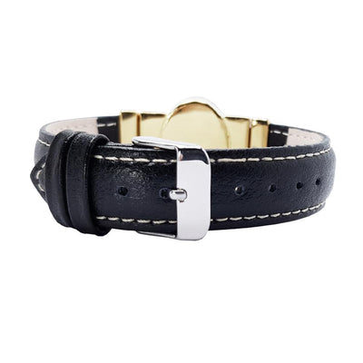 "Crysolit Dream Golden Bracelet & Black ""Calfskin"" Natural Leather Strap"