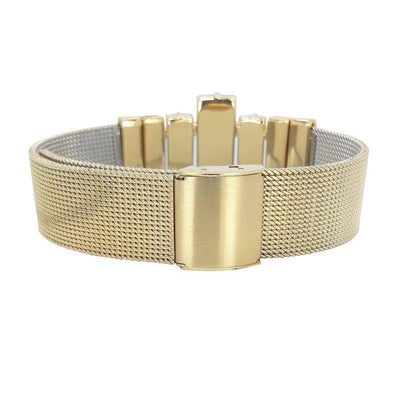 "Night Image Men's Bracelet & ""Milanese Mesh"" Golden Metal Strap"