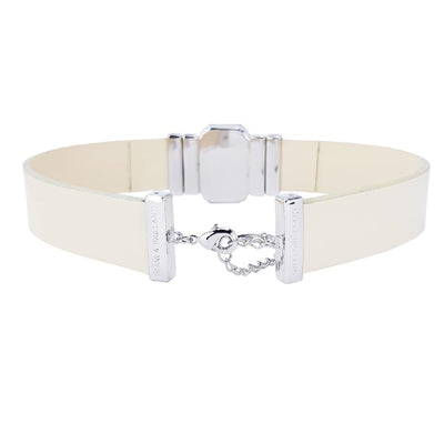 Midnight Jet Choker & Cream Lacquer Leather Strap