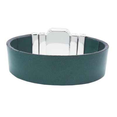Healing Nature Bracelet & Raw Green Natural Leather Strap