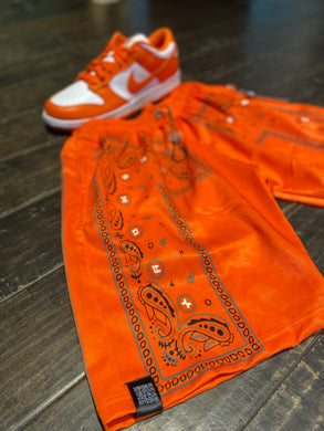 Orange Bandana Shorts