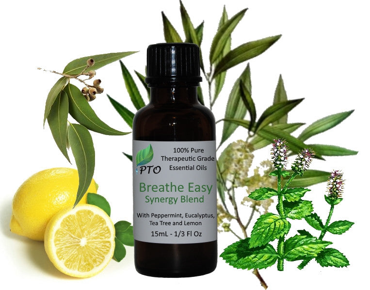 Breathe Easy Synergy Blend Essential Oil Decongestant with Peppermint, Tea Tree, eucalyptus and lemon