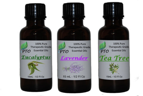 Essential Oil Set of 3 15ml bottles, Lavender, Tea Tree and Eucalyptus