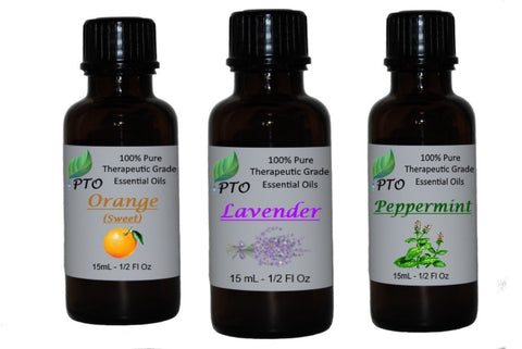 Lavender, Peppermint and Sweet Orange Essential Oil Set for Aromatherapy
