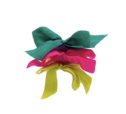 Bandtz Encore Set in Happy. Three matte elastic hair bows in yellow, pink and green. Long lasting, no fray hair bows. Favorite hair tie for thick hair and thin hair. Kind to the hair.